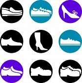 Footwear icon vector set, collection of shoes.