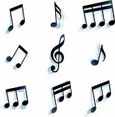 black monochromatic musical notes and symbols isolated on white background