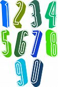 3d extra tall numbers set made with round shapes, colorful numerals for advertising and web design.
