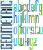 Retro colorful font with repeated lines, geometric poster letters.