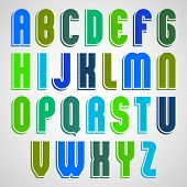 Bright colorful uppercase letters with rounded corners.