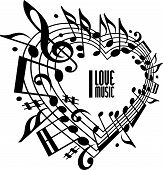 I love music concept, black and white design. Heart made with musical notes and clef, black and whit