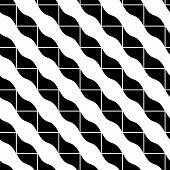 Geometric mosaic seamless pattern, black and white background.