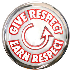 image of respect  - Give Respect to Earn Respect words on a button to show the cycle of winning reverence - JPG