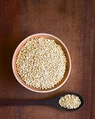 stock photo of quinoa  - Overhead shot of popped white quinoa  - JPG
