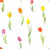 seamless pattern with watercolor tulips
