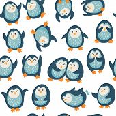 Seamless pattern with funny penguins