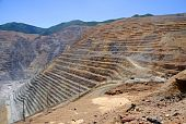 stock photo of porphyry  - View of Bingham Kennecott Copper Mine on sunny summer day - JPG