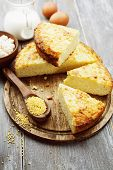 picture of curd  - Casserole with millet and curd on the wooden table - JPG