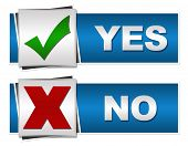 stock photo of yes  - Set of two yes and no buttons with related symbols - JPG