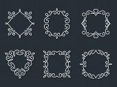stock photo of monogram  - Set of outline monogram frames - JPG