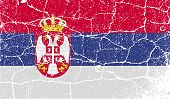 Flag Of Serbia With Old Texture. Vector