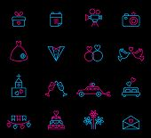 picture of ring-dove  - Set of line wedding icons in blue and pink color - JPG