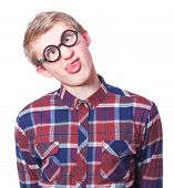 pic of nerd glasses  - Young teen boy in nerd glasses - JPG