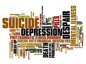 image of suicide  - Suicide and depression issues and concepts word cloud illustration - JPG