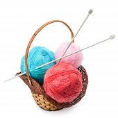 Yarn And Knitting Needles Arranged In A Basket