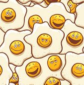 Cartoon Fried Eggs Background Seamless