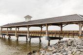 Old Empty Fishing Pier In Winter