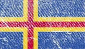 Flag Of Aland With Old Texture. Vector