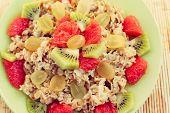 oat muesli with kiwi and grapefruit