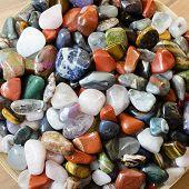 picture of precious stone  - Colorful semi precious stones in a bowl - JPG