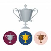 Set icons cups of winner,icon  trophy cup