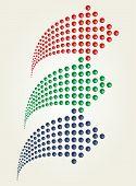 Set of dots arrows. Vector illustration