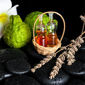 Aromatic Spa Concept Of Bottles Essential Oil, Bergamot Fruits, Plumeria Flower And Dried Lavenders