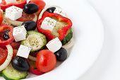 Greece Salad On A White Dish
