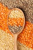 Mix Of Different Lentil Types In Spoon