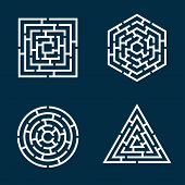 image of circle shaped  - abstract shapes of square circle triangle hexagon maze - JPG