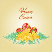 Happy Easter Easter Eggs And Daffodils Vector