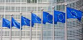 pic of building exterior  - European flags in front of the Berlaymont building headquarters of the European commission in Brussels - JPG