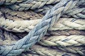 Nautical Rope, Closeup Background Texture, Vintage Toned