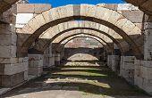 Interior Of Empty Corridor With Arcs