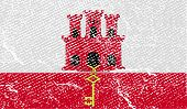 Flag Of Gibraltar With Old Texture. Vector
