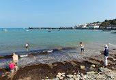 Sunshine and warm weather brought families to Swanage Pier on the Dorset coast
