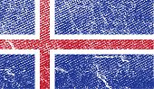 Flag Of Iceland With Old Texture. Vector