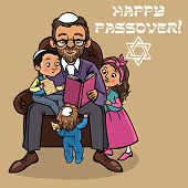 pic of passover  - Jewish family reading passover story  - JPG