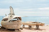 Deserted fishing boats