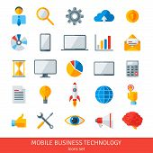 Abstract vector set of colorful flat business and mobile technology icons