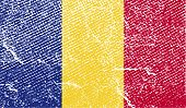 Flag Of Romania With Old Texture. Vector