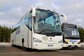 White Scania Irizar And VDL Citea Buses Parked