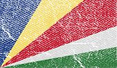 Flag Of Seychelles With Old Texture. Vector