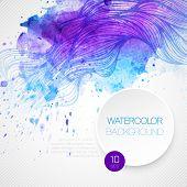 Watercolor wave background. Vector illustration