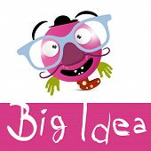 Big Idea Vector Illustration with Funky Avatar with Glasses