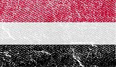 Flag Of Yemen With Old Texture. Vector