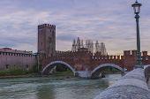 Bridge Ponte Scaligero, Verona, Italy.