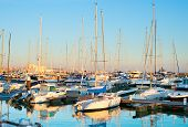 picture of sails  - Yachts sail boats and motorboats in marina of Cascais Portugal - JPG