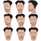 pic of outrageous  - Set Of Variation Of Emotions Of The Same Guy With Beard - JPG